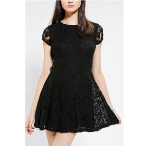 Lace Fit Flare Skater Cocktail Little Black Dress